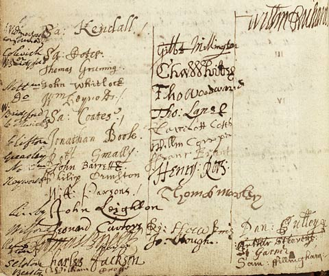 Detail from minute book, showing lists of clerics' signatures