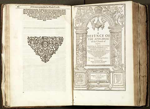 Pages from John Jewel's completed works, 1609