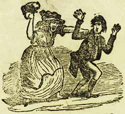 Illustration of a man trying to flee from a drunken woman, from the ballad The Devil's in the Girl