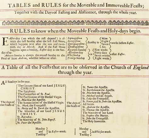 Detail from 'Tables and Rules for the Moveable and Immoveable Feasts; Together with the Days of Fasting and Abstinence, through the whole year' from 1681