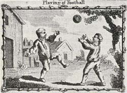 Illustration of two boys playing with a football, published in 1899