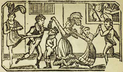 Illustration showing men and women dancing, while two fiddlers provide the music