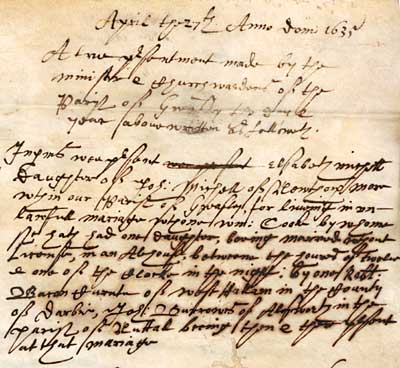 Presentment Bill relating to a clandestine marriage from 1635