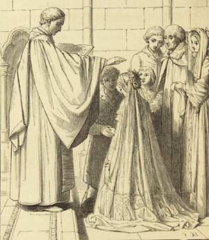 Illustration of a church wedding from the Book of Common Prayer 1845