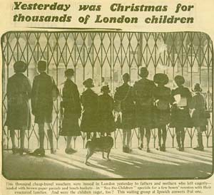 Newspaper clipping, showing a row of children