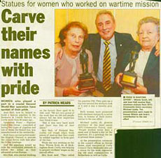 Press cutting with the headline 'Carve their names with pride', showing two women holding awards