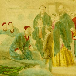 watercolour of Florence Nightingale and some visitors in a ward of war wounded