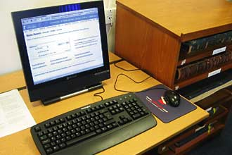 One of the computer terminals giving access to the University's catalogues