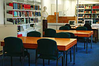 The inner Reading Room, with reference books and access to online materials