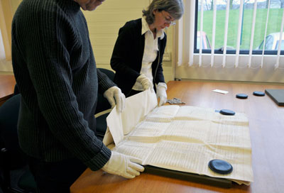 Handling a large parchment deed