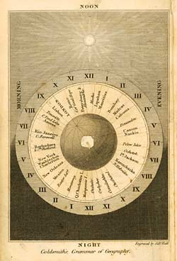 Diagram showing time zones and major cities set around a globe, [1834-1839] (LT 210.G/P4)