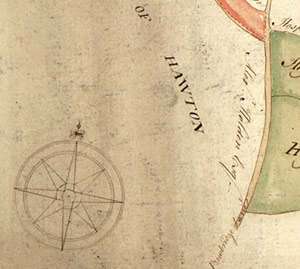 Detail from Ne 6 P 3/15/3, showing the compass and part of the map