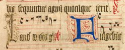 Detail showing design of a human face on a capital initial 'L', Wollaton Antiphonal, MS 250, f. 393v