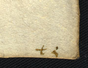 Sign to help the ordering of completed loose leaves for sewing, from John Gower, 'Confessio Amantis', WLC/LM/8, f. 155r