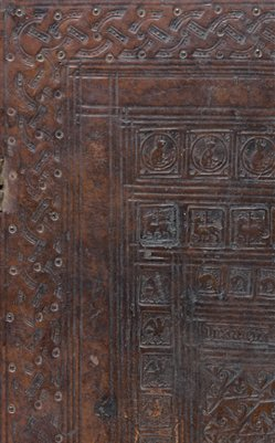 Detail of stamped Oxford binding on the back board of prayer book, WLC/LM/11