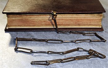 Original medieval chain attached to modern binding of the Rushall Psalter, Me LM 1