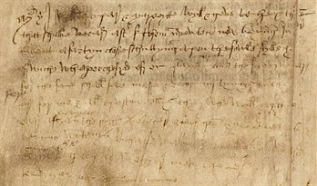 Example of family notes in fifteenth-century handwriting, on one of the miscellaneous leaves bound with the Rushall Psalter, Me LM 1, f. 195v