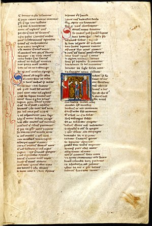 folio from an illustrated, bound literary manuscript, c.1200-1250 (WLC/LM/6, f. 203r)