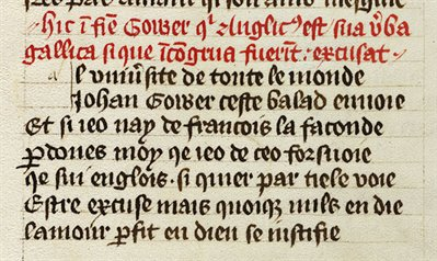 tail from John Gower, Traitié ..., in French with Latin headings (WLC/LM/8, f.203v)