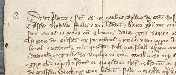 Detail from title deed in Latin, 1388, Ne D 4716