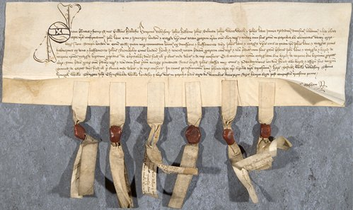 Title deed with six seals, 1452 (Ne D 4662)