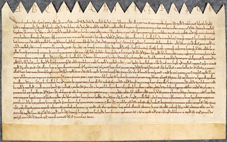 Chirograph agreement relating to the rectory of Maplebeck, Nottinghamshire, 1310 (Ne D 2214)