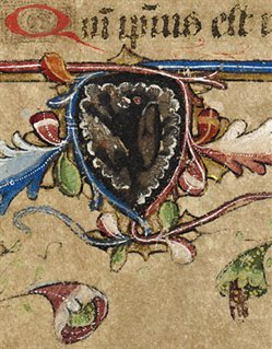 Coat of arms in the Rushall Psalter, Me LM 1, f. 21r