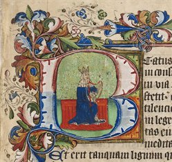 Initial showing King David with his harp, in the Rushall Psalter, Me LM 1, f. 79r