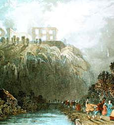 Contemporary illustration of Nottingham Castle in flames, with a jubilant mob celebrating the scene