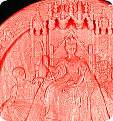 Detail of the Great Seal, a large wax pendant seal, attached to Letters Patent dated 26 November 23 Victoria (1859).