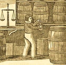 Engraving showing a boy taking beer from a barrel, from The Child's Arithmetic: A Manual of Instruction for the Nursery and Infant Schools (London: William S. Orr and Co., 1837)