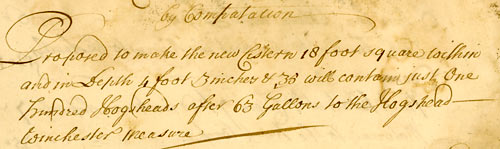 Detail from proposal for pipe-laying, 1723 (Pl C 1/389)