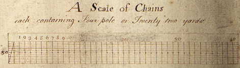 Detail of a scale of chains from plan of Newark Fields, pre-1768 (Ne 6 P 3/15/3)