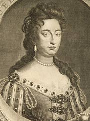 Engraved portrait of Queen Mary II, 1744
