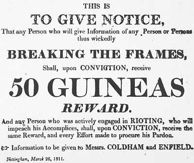 Broadsheet offering a reward for information about luddite activity in Nottinghamshire, dated 26 Mar. 1811