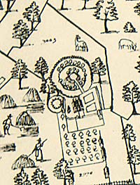 Detail from 1635 map showing castle