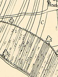 Detail from 1635 map showing strips
