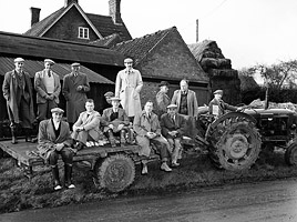 Photograph of the Laxton Jury assembling for their annual visit to the Fallow Field, Laxton, Nottinghamshire, 20th century