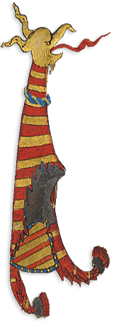 Dragon with shield, decoration taken from the Wollaton Antiphonal