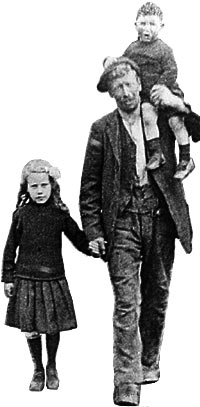 Photograph showing a miner walking home with two children, from Picture the Past (NCCC000667)