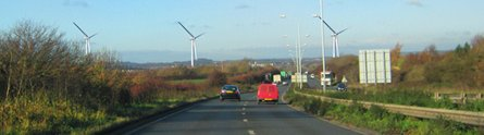 Turbines viewed from Nottingham Knight roundabout