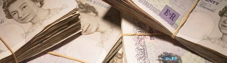 Bundles of £20 notes