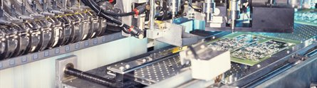 Circuit boards being manufactured