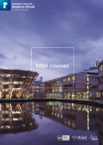 Business MBA brochure cover featuring a photograph of Jubilee Campus