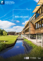 Business MSc brochure cover featuring a photograph of Jubilee Campus