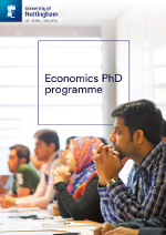 Economics PhD brochure cover featuring a photography of students in a seminar