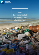 Environmental leadership MSc brochure cover featuring a photography of a beach littered with rubbish