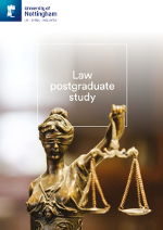 Law postgraduate brochure cover featuring a photography of a Lady Justice statue