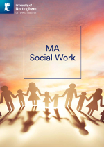 Social work MA brochure cover featuring an illustration of people holding hands