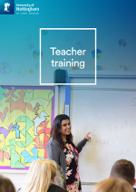 Teacher training brochure cover featuring a photograph of a student teaching in a secondary school